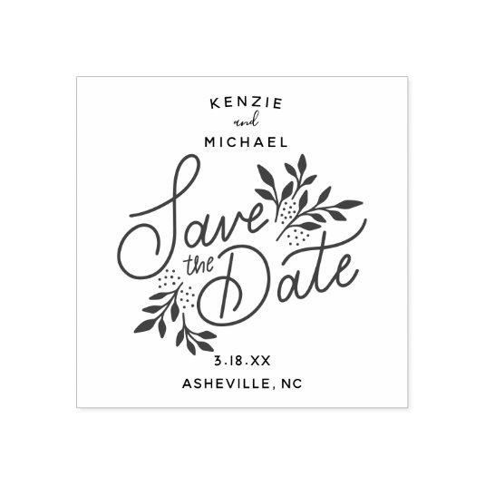 Wedding Save the Date Hand Lettered Botanical Rubber Stamp