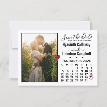 Wedding Save the Date January 2020 Calendar Photo
