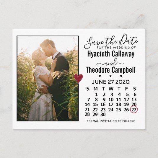 Wedding Save the Date June 2020 Calendar Photo Invitation