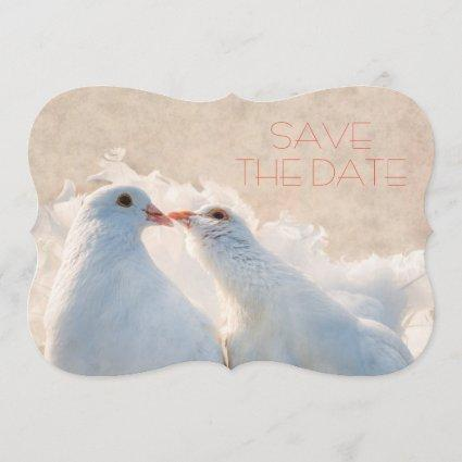 Wedding Save the Date Kissing Doves