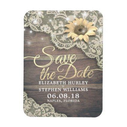 Wedding Save The Date Lace Sunflower Wood Lights Magnets