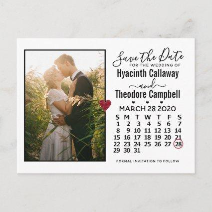 Wedding Save the Date March 2020 Calendar Photo Invitation