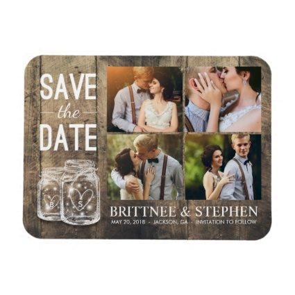 Wedding  Mason Jars Wood Magnets