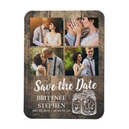 Wedding Save The Date Mason Jars Wood Magnets
