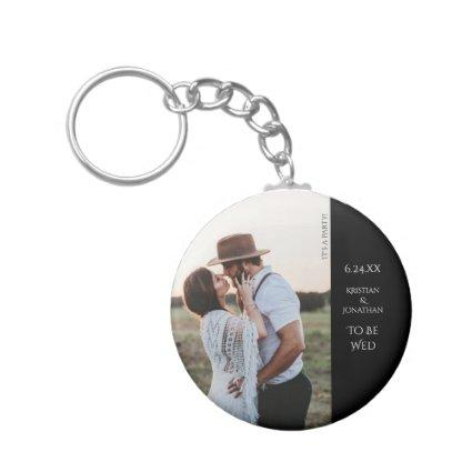 Wedding Save the Date Modern Photo Keychain