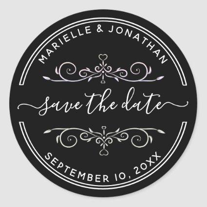 Wedding Save the Date Modern Script Return Address Classic Round Sticker