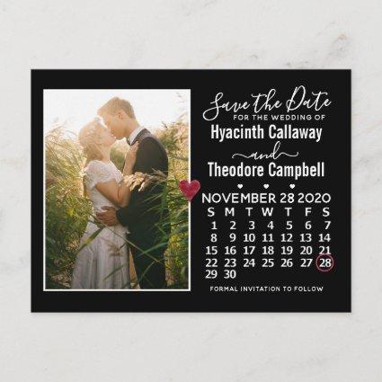 Wedding Save the Date November 2020 Calendar Photo Invitation