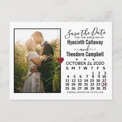 Wedding Save the Date October 2020 Calendar Photo Invitation