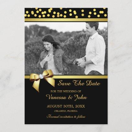 Wedding Save The Date Photo Gold Confetti Black