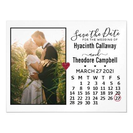 Wedding Save the Date Photo March 2021 Calendar Magnetic Invitation
