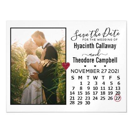 Wedding Save the Date Photo November 2021 Calendar Magnetic Invitation