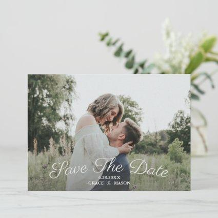 Wedding Save the Date Photo Pretty Floral Backing