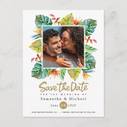 Wedding Save The Date   Photo with Tropical Border