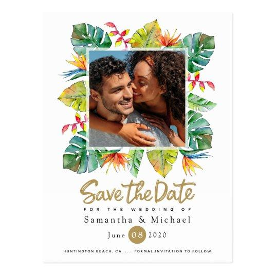 Wedding Save The Date | Photo with Tropical Border