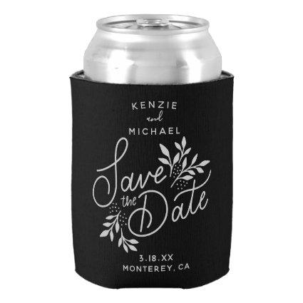 Wedding Save the Date Pretty Botanicals Black Can Cooler