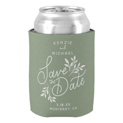 Wedding Save the Date Pretty Botanicals Blue Can C Can Cooler