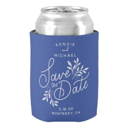 Wedding Save the Date Pretty Botanicals Blue Can Cooler