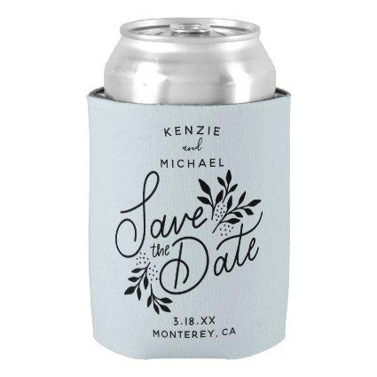Wedding Save the Date Pretty Botanicals Dusty Blue Can Cooler