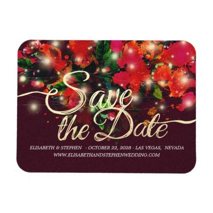 Wedding Save The Date Red Floral String Light Gold Magnet