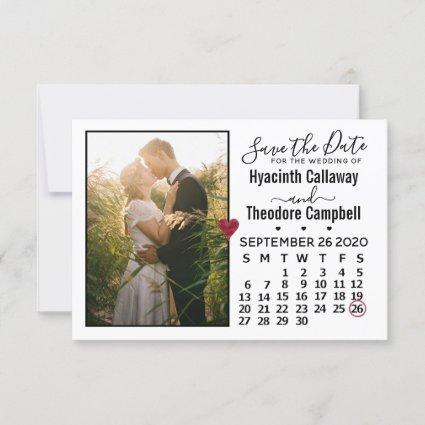 Wedding Save the Date September 2020 Calendar