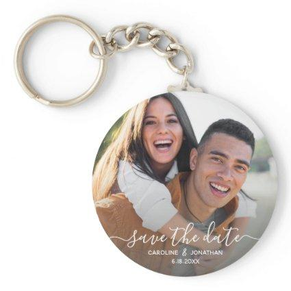 Wedding Save the Date Simple Photo Calligraphy Keychain