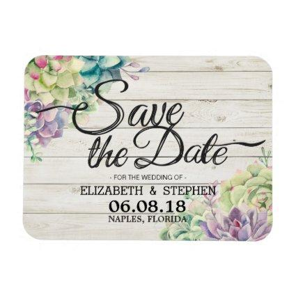 Wedding Save The Date Succulent Plants Rustic Wood Magnets