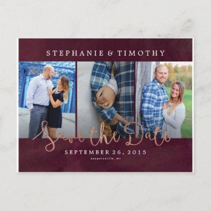 Wedding Save the Date - Wine Red & Rose Gold Announcement