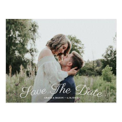 Wedding Save the Date with Photo Vintage Rose