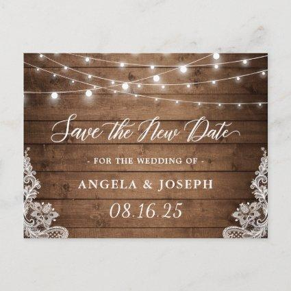 Wedding Save the New Date Rustic Twinkle Lights
