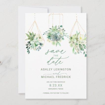 Wedding Succulent Watercolor Greenery Dusty Blue Save The Date