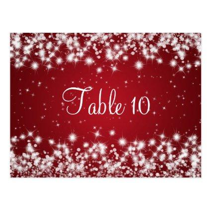 Wedding Table Number Winter Sparkle Red
