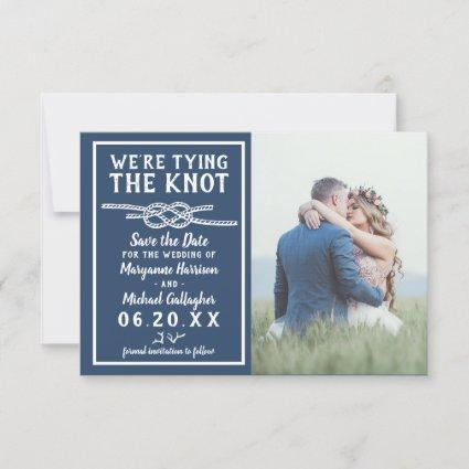 Wedding Tying the Knot Simple Nautical Photo Navy Save The Date