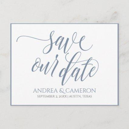 Wedding Typography Save-the-Date- Dusty Blue Announcements Cards