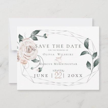 WEDDING  | Watercolor Dusty Rose Blush Pink Silver Save The Date