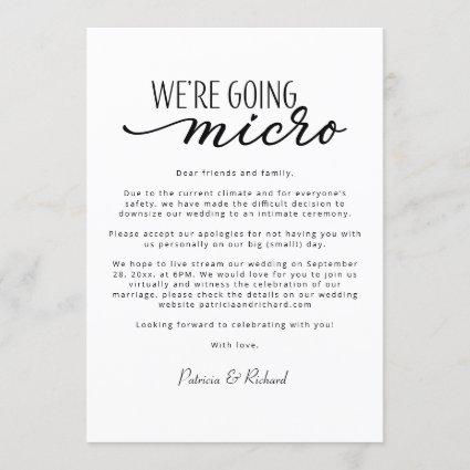 We're Going Micro Downsize Wedding Announcement