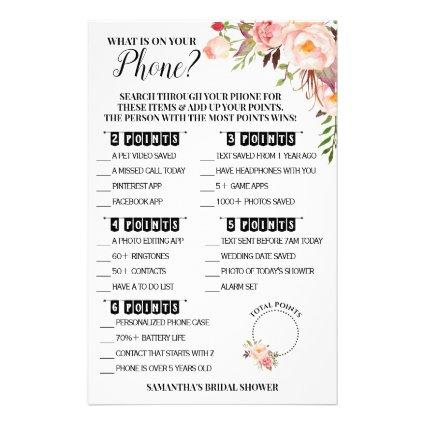 What is on your Phone Bridal Shower Pink Game Card