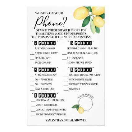 What is on your Phone Lemons Shower Game Card