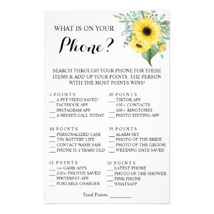 What is on your Phone? Sunflower Shower Game Card