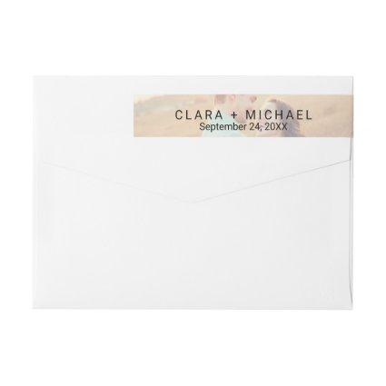 Whimsical Calligraphy | Faded Photo Wedding Wrap Around Label