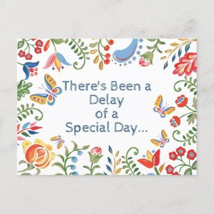 Whimsical Change Delay the Date Customized Floral Announcement