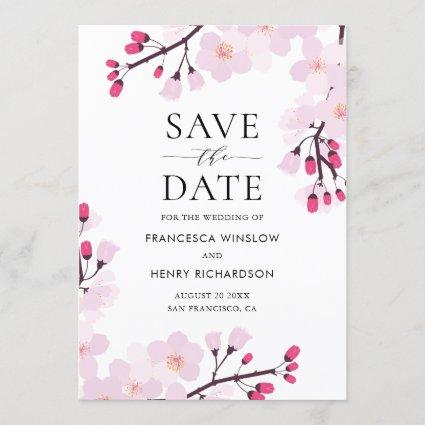 Whimsical Cherry Blossoms Save the Date