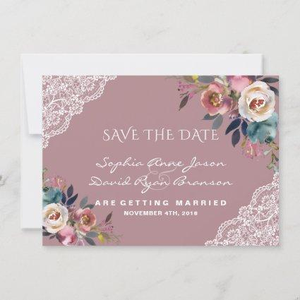 Whimsical Dusty Blue Dusty Rose Flowers Wedding Save The Date