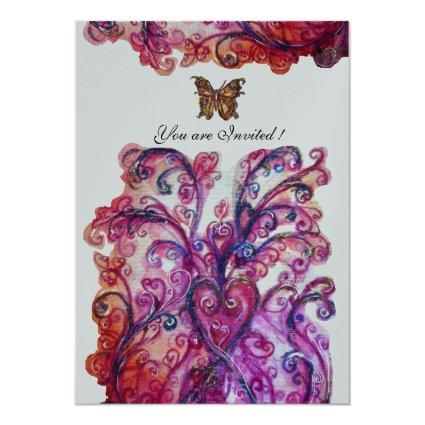 WHIMSICAL FLOURISHES bright red pink purple silver Invitation