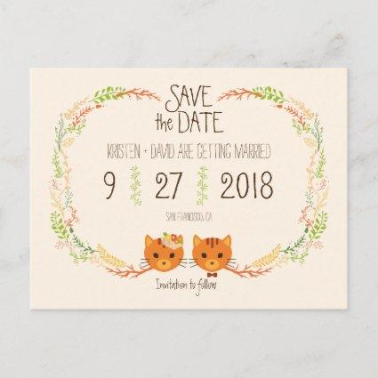 Whimsical Forest Cats Cream Wedding Save the Date Announcement