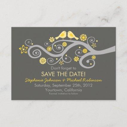 Whimsical Love Birds Save The Date