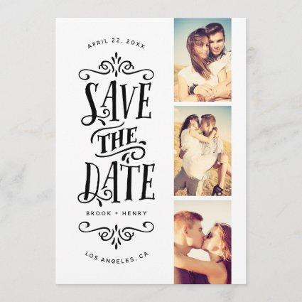 Whimsical Mod 3-Photo Save The Date | Black