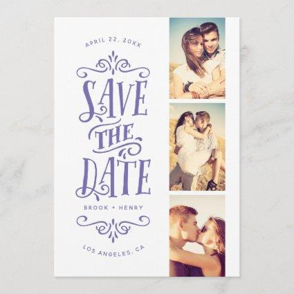 Whimsical Mod 3-Photo Save The Date | Periwinkle