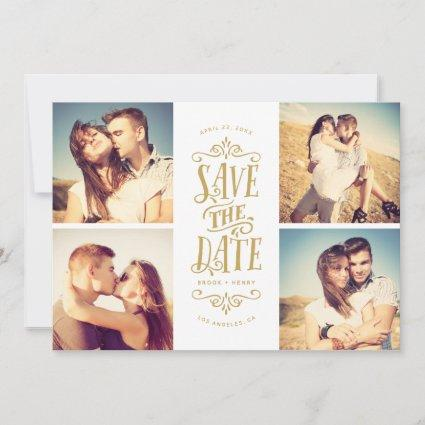 Whimsical Mod 4-Photo Save The Date | Gold