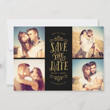 Whimsical Mod 4-Photo Save The Date | Gold Black