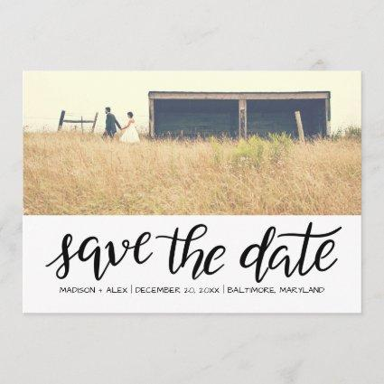 Whimsical Save The Date Typography Couple Photo
